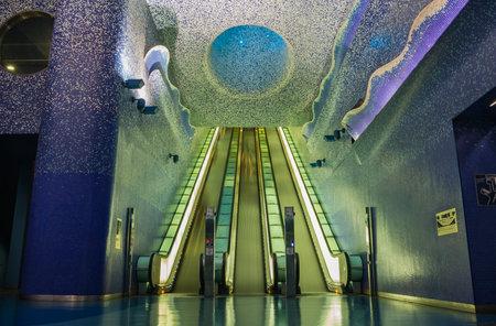 A picture of the inside of Toledo Station, in Naples. Reklamní fotografie - 109448404