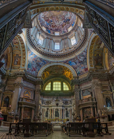 A vertical panorama of the artistic interiors of the Naples Cathedral.