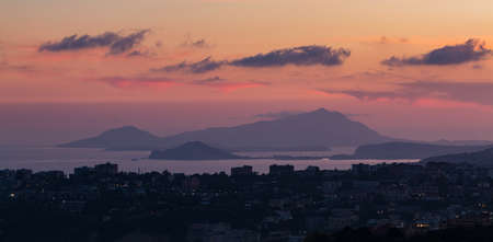 A picture of the island of Procida in the distance as seen from Naples. Editorial