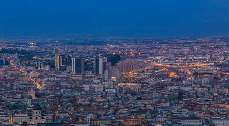A picture of the business district of Naples in the evening.