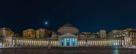 A night panorama of the Church of San Francesco di Paola, in Naples. Editorial