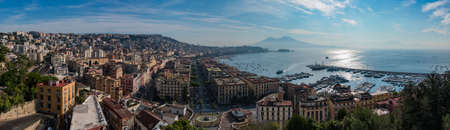 A panorama of Naples focused on the Chiaia district taken from a viewpoint. Editorial