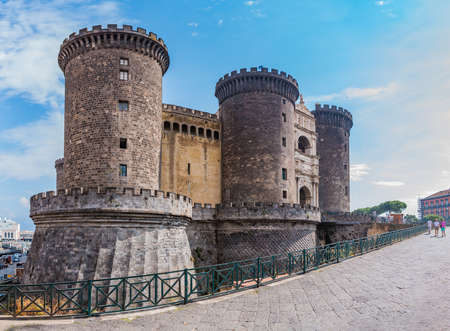 A panorama of Castel Nuovo taen from up close (Naples).