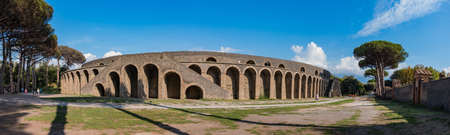 A panorama of the Amphitheater of Pompeii.