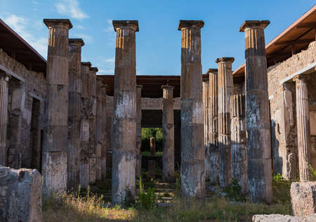 A picture of the House of Marcus Epidius Rufus taken from the entrance, in Pompeii.