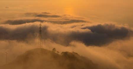 A picture of the sun setting over Monte Faito. Stock Photo