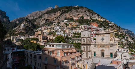 A panorama picture of Positano taken from within the small town.