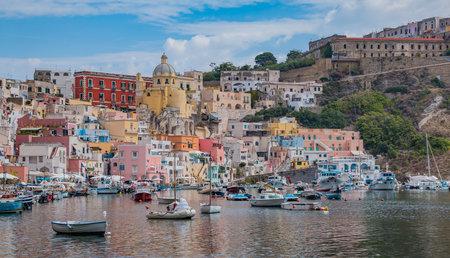 A picture of the Marina della Corricella, the colorful promenade in Procida, Naples.