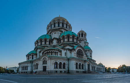 A panorama picture of the Alexander Nevsky Cathedral at sunset, in Sofia. Editorial