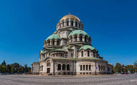 A panorama picture of the Alexander Nevsky Cathedral as seen from the outside. Stock Photo - 111245594