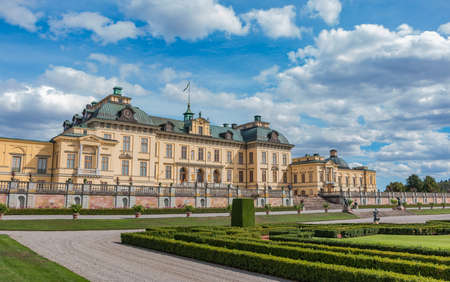 A picture of Drottningholm Palaces facade that faces the garden. Editorial