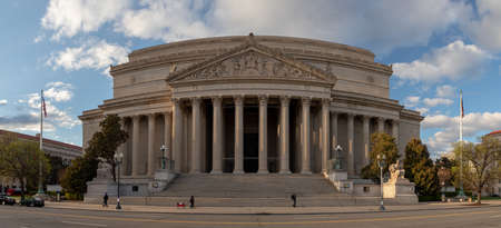 A panorama picture of the National Archives building, in Washington.