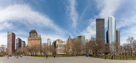 A panorama picture of the Lower Manhattan buildings as seen from Battery Park. Stock Photo - 121982397