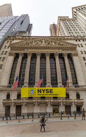 A panorama picture of the main facade of the New York Stock Exchange.