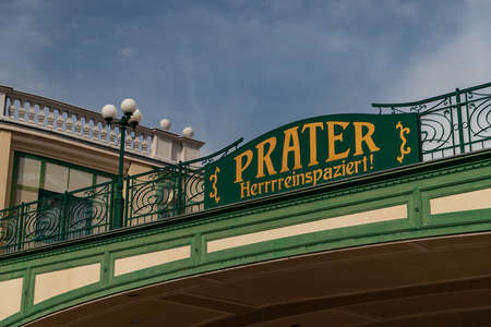 A picture of the Prater sign on Vienna's iconic amusement park.