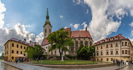 A panorama picture of the St. Martins Cathedral on a rainy day. Editorial
