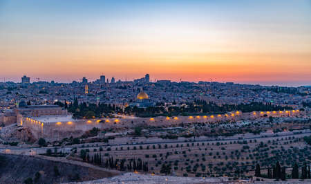 A picture of Temple Mount at sunset (Jerusalem).
