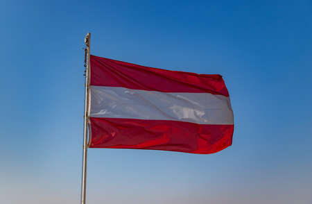 A picture of the Austrian Flag on top of the Austrian Hospice (Jerusalem).