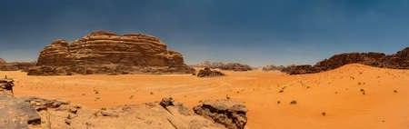 A panorama picture of Wadi Rum's landscape.