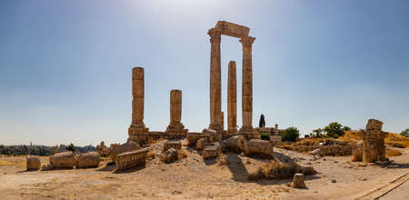A panorama picture of the Temple of Hercules in Amman. Stock Photo
