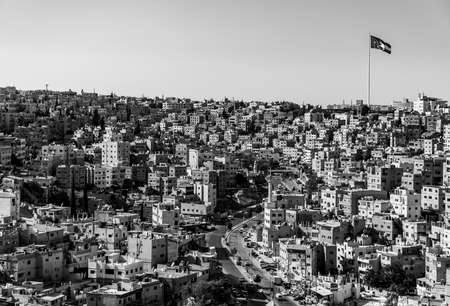 A black and white picture of the Al Qusour district in Amman.
