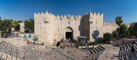 A panorama picture of the Damascus Gate (Jerusalem). Redakční