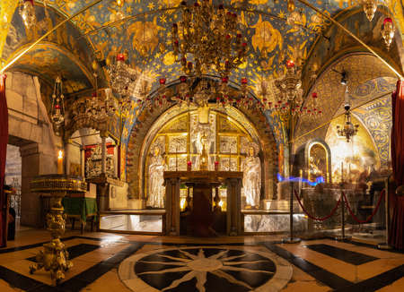 A panorama picture of the Crucifixion Altar, inside the Church of the Holy Sepulchre.