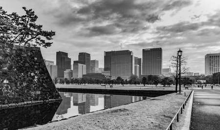 A black and white picture of Chiyoda City, next to the Imperial Palace (Tokyo).