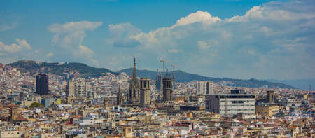 A picture of the rooftops of the Barrio Gótico district, in Barcelona.