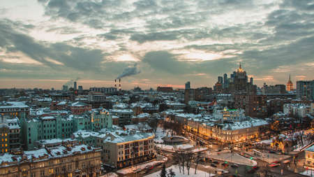 A picture of Moscow at sunset.