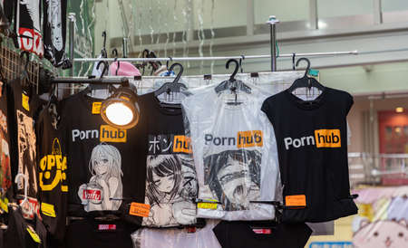 A picture of PornHub t-shirts on sale on Takeshita Street (Tokyo).