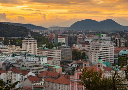 A picture of the northwest side of Ljubljana at sunset.