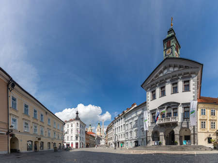 A panorama picture of the Town Square of Ljubljana.