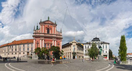 A panorama picture of the Prešeren Square.