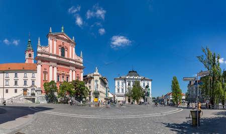 A panorama picture of Prešeren Square.