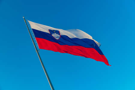 A picture of a Slovenian flag waving in the air. 免版税图像