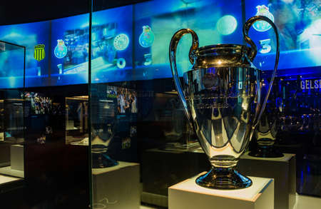 A picture of the Champions League trophy on display inside the FC Porto Museum.