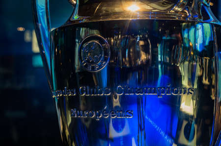 A close-up picture of the Champions League trophy on display inside the FC Porto Museum.