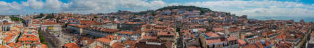 A panorama picture of the city of Lisbon taken from the top of the Santa Justa Lift.
