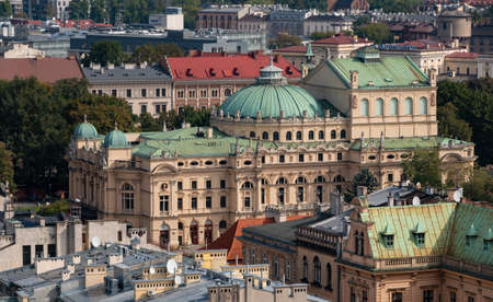 A picture of the Juliusz SÅ'owacki Theatre as seen from above.
