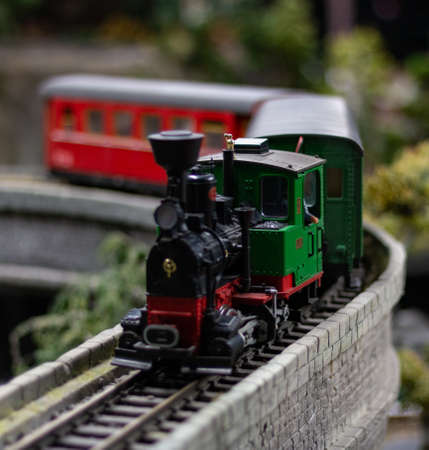A picture of one of the model trains exhibited in the Kolejkowo Miniature Museum in Wroclaw.