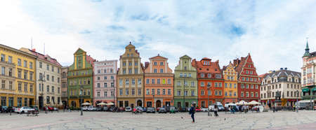 A panorama of the colorful Solny Square in Wroclaw.