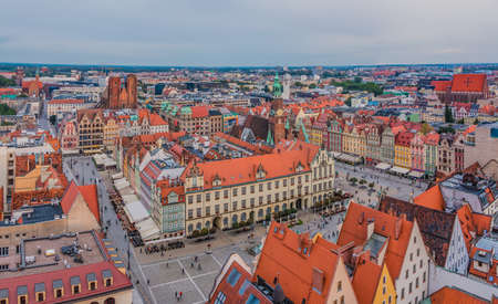 A picture of Wroclaw's Market Square taken from a vantage point. 版權商用圖片 - 158859024