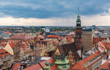 A picture of Wroclaw's Market Square as seen from above. 版權商用圖片 - 158859029