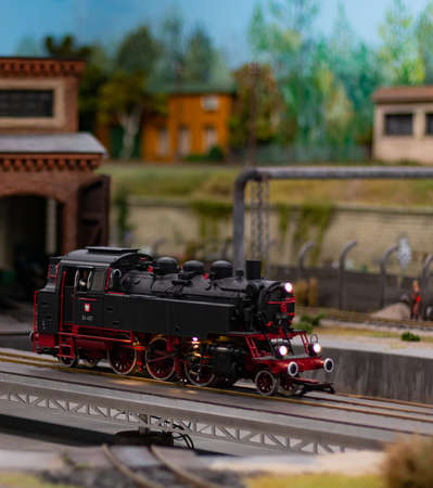 A picture of one of the model trains exhibited in the Kolejkowo Miniature Museum in Wroclaw. 版權商用圖片 - 158859031