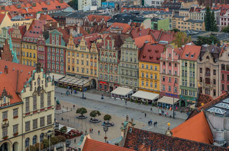 A picture of the south side of Wroclaw's Market Square taken from a vantage point.