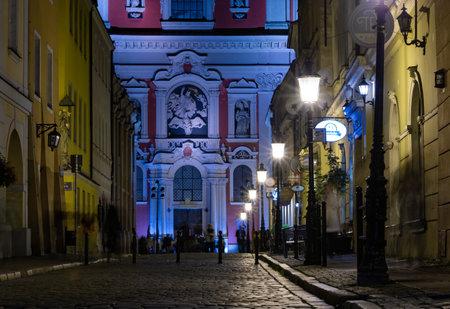 A night shot of the Świętosławska Street near the Market Square (Poznan).