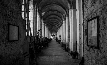 A black and white picture of the Amalfi Cemetery, in the Amalfi Coast.