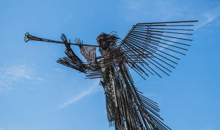 A picture of the siren statue of the Memorial Complex to the Moved Villages (Chernobyl). 新聞圖片