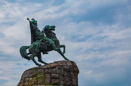 A picture of the Bohdan Khmelnytsky Monument, in Kiev. 版權商用圖片 - 159073638